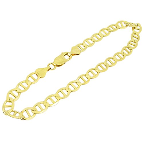 IcedTime Mens 10k Yellow Gold figaro cuban mariner link bracelet AGMBRP37 8.5 inch long and 7mm wide