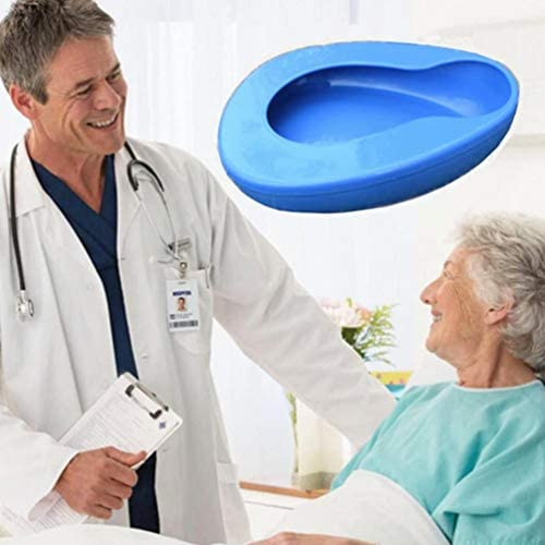 Bedpan for Women Men Elderly, Large Bedpan for Bedridden Patient Female Male, Bed Pan for Bedbound Emergency Device Hospital Home (Blue) 416Y9gW7 GL