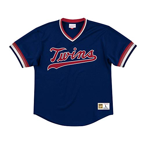 Mitchell & Ness Minnesota Twins Men's Mesh V-Neck Jersey (XX-Large)