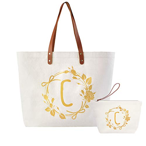 ElegantPark C Initial Monogram Personalized Party Gift Shoulder Tote and Travel Makeup Cosmetic Bag Zipper Canvas 2 Pcs -