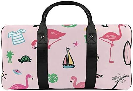 ボストンバッグ ダッフルバッグ ピンク フラミンゴ フルーツ スポーツバッグ 旅行バッグ 旅行カバン メンズ レディース ジムバッグ キャリーオンバッグ 大容量 トラベルバッグ 収納バッグ ショルダバッグ カート固定ロープ付き