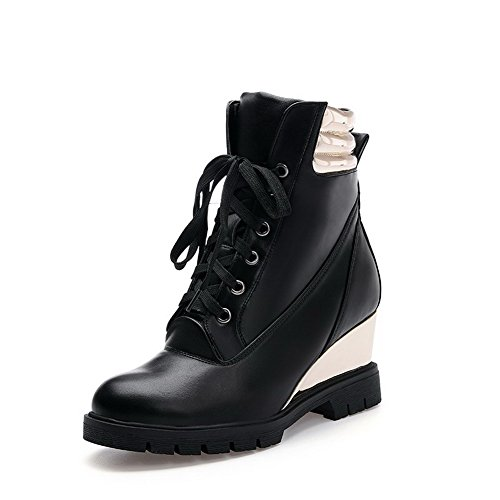 AmoonyFashion Womens Closed Round Toe Low-top High-Heels Assorted Color PU Boots Black fz0nwUjN