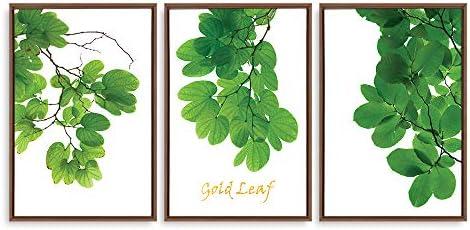 Framed for Living Room Bedroom Green Plants Theme for x3 Panels