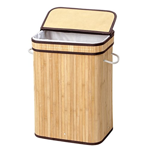 SONGMICS Bamboo Laundry Hamper Storage Basket Foldable Dirty Clothes Bin Box Lid Handles Removable Liner Rectangular 72L Natural ULCB10Y by SONGMICS