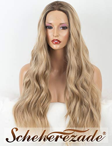 2019 Ash Blonde Lace Front Wigs Wavy Dirty Blonde Wig with Brown Roots Scheherezade 22 Inches Long Ombre Lace Front Wavy Blonde Wig of Synthetic ()