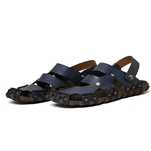 Sandalias de Respirable Playa Zapatillas Blue de Sandalia Pescador Interior Hombre para Verano Deportes Ajustables de y Cuero Exterior de para de Antideslizante Ocio adecuadas xUPx4
