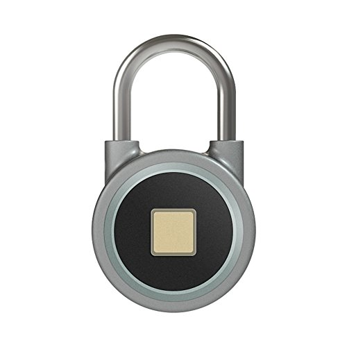 TDJDYQ Electron Intelligent Bluetooth Fingerprint Lock Anti-Theft Lock Padlock Cabinet Lock Door Lock Luggage, Backpack Aluminum Alloy 7.84.82.3Cm,Gray by TDJDYQ