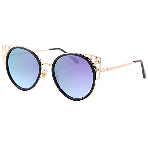 cateye soleil polarisée mode Violet lunettes non uv400 ogobvck de lunettes miroir moderne les tqy4zX