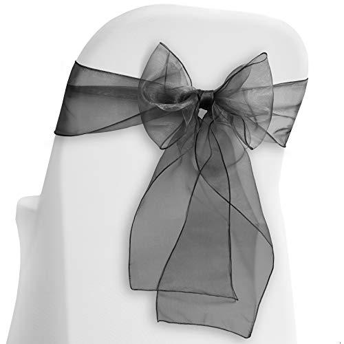 Lann's Linens - 100 Elegant Organza Wedding/Party Chair Cover Sashes/Bows - Ribbon Tie Back Sash - Black -
