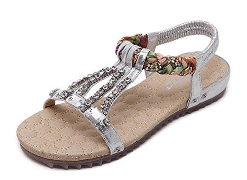 Minetom Mujer Verano Elegante Bohemia Abalorios Diamantes De Imitación Sandalias Chanclas Fashion Trenza Zapatos Planos Plateado