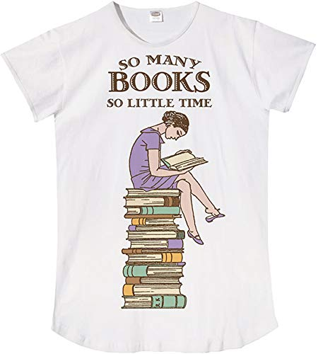 (Relevant So Many Books So Little Time Night Shirt Sleepshirt White)