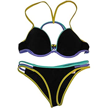 5482a126be560 Victoria s Secret 2PC Swimsuit Bikini Set Black Multi Fabolous Cheeky Set  34B-XS