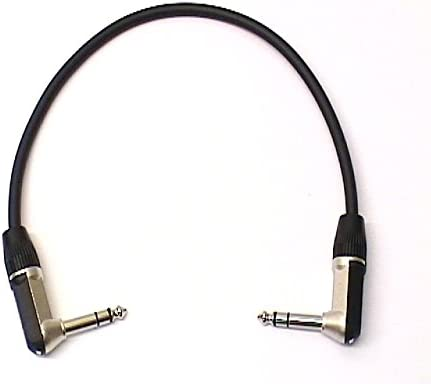 Right Angled Stereo TRS 1//4 Jack Black Rean 0.3m Patch Lead