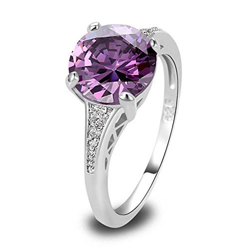 Veunora 925 Sterling Silver Created Amethyst Filled Promise Engagement Ring for Women Size - Steel Created Stainless Ring Peridot