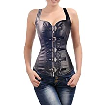 Blidece Bustier Corset Sexy Woman's Bombshell Faux Leather Mesh Dress Lingerie Skirt
