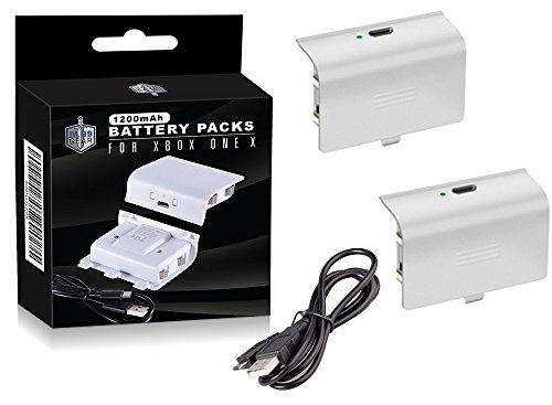 Xbox One S White Controller Battery Packs - Two Supercharged Long Lasting Packs with Charging Cable - By LVL99Gear