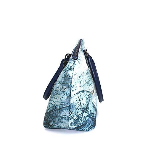 YNOT damhandväska modell Bugatti präglad syntetisk blå ballerina-tryck väska med dragkedja, ytterficka, innerfack, dubbla handtag och justerbar axelrem BIOSABORSE