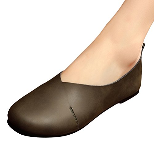 Mordenmiss Womens Cowhide Glove Shoes Ballet Flat Loafer Dark Green kGxLI