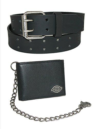 Dickies Mens Leather Chain Wallet and Two Hole Bridle Belt, 40, Black Wallet with Black Belt (Mens Dickies Belt)