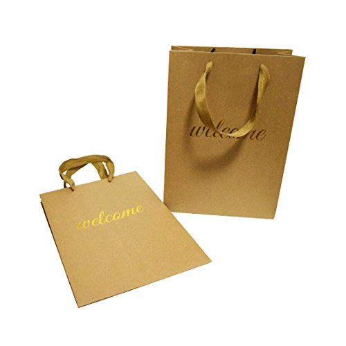 FOONEA Welcome Bags Kraft Paper Bag with Handles for Hotel Guests Wedding Favors Graduation Gift Bags Birthday Party Set of 10, Vertical Design