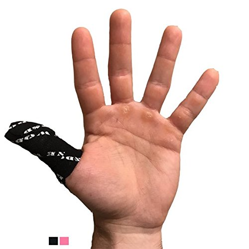 WOD&DONE Premium Pre-Cut Athletic Thumb Protection Tape for Crossfit Olympic Hook Grip Weightlifting (Black, 4pk)