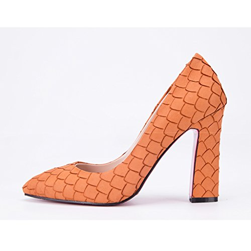 Scarpe Da Donna In Alluminio - Europa E America Ruvide Con Scarpe Singole Piatte Scarpe Da Banchetto Comfort Piatto (colore: Verde, Misura: 36-scarpe Lungo230mm) Arancione