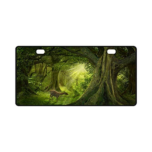 Teisyouhu Tropical Forest with Fawn Deer in The Grass Automotive Cute Car License Plage Tag Car Accessory for Vehicles Bicycle Aluminum Car License Plate Cover