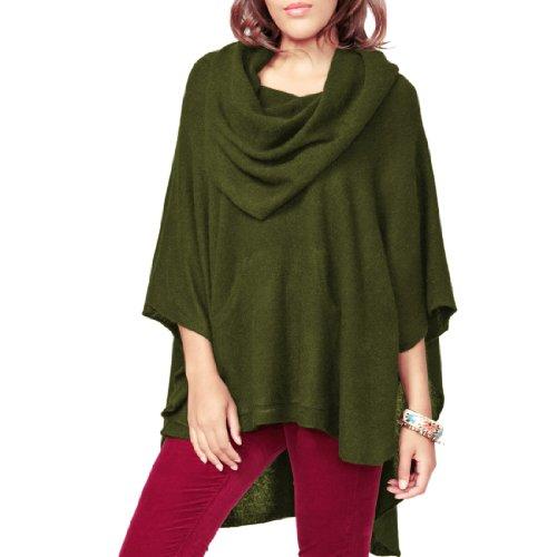 Parisbonbon Women's 100% Cashmere Pockets Poncho Color Ol...
