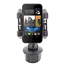 DURAGADGET Shake-Proof Rotatable Car Cup Holder Mount for NEW HTC Desire 820, HTC Desire 310 & BlackBerry Z30