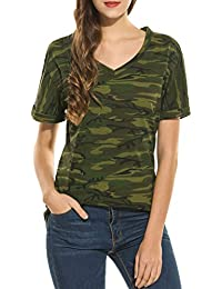 Women's Roll Over Short Sleeve Top V Neck Camouflage T Shirt Loose Camo Basic Jersey Top