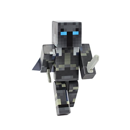 Iron Armor Crusader Action Figure Toy, 4 Inch Custom Series Figurines, EnderToys [Not an official Minecraft product]