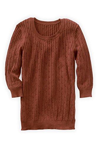 Fair Indigo Fair Trade Organic 3/4-sleeve Cable Crew Sweater (M, Copper)