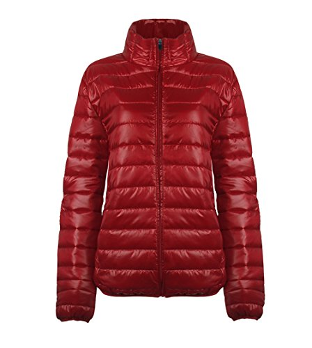 SUNDAY ROSE Womens Packable Jacket Lightweight Puffer Quilted Coat Dark Red - Size 2XL by SUNDAY ROSE