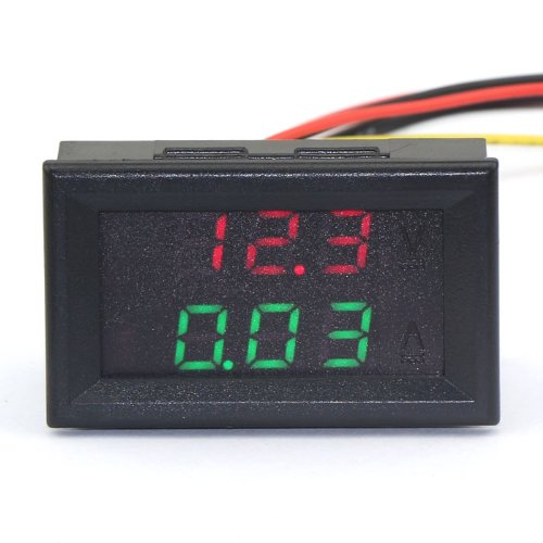 """DROK 0.28"""" DC 0-100V 10A Digital Current Tester Gauge Red Green Bright LED Display Five Wires Volt Amp Meter for Solar Battery Monitor Car Motor Panel Mount"""