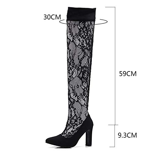 - Sexy Bootie Sandals Hollow Out Lace Summer Women's Shoes Stretch Long Boots Heels,Long Boot,8
