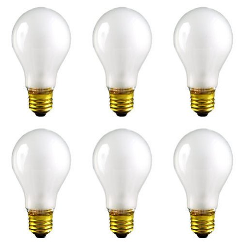 CEC Industries TS100 (Frosted) Silicone Coated, Rough Service Bulbs, 130 V, 100 W, E26 Base, A-19 shape (Box of 6) - A19 Rough
