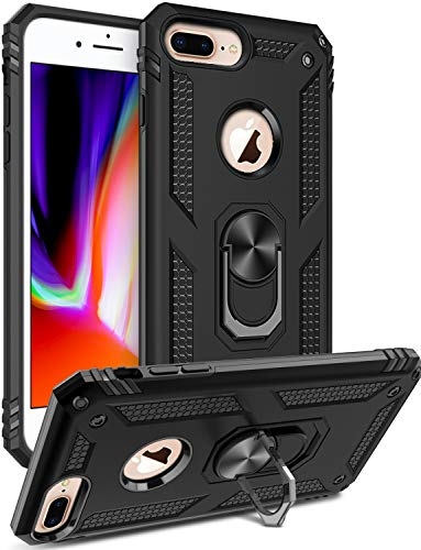iPhone 8 Plus Case,iPhone 7 Plus Case,iPhone 6 6s Plus Case,LUMARKE Military Grade Shockproof Rugged Armor Cover with Kickstand Protective Phone Case for iPhone 6 6s Plus/7 Plus/8 Plus Black