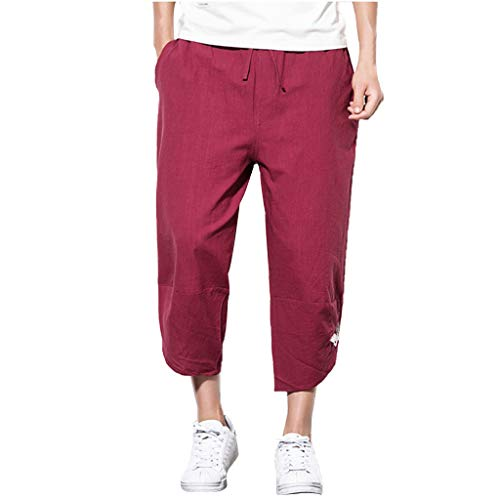 Creazrise Men's Leisure Cotton and Linen Embroidery Loose Calf-Length Pocket Lounge Harem Pants Long Shorts ()