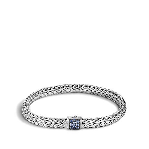 John Hardy WOMEN's Classic Chain Silver Lava Small Bracelet with Blue Sapphire, Size M - BBS9042BSPXM