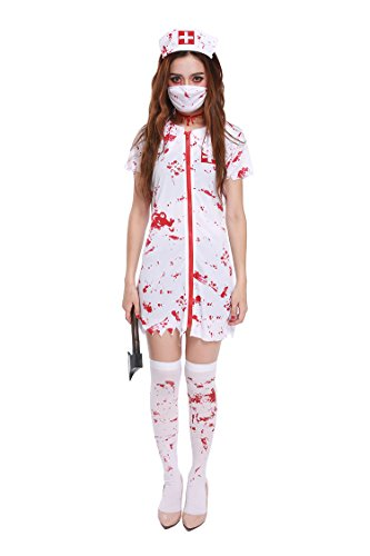 [Honeystore Women's Scary Zombie Bloody Nurse Adult Roleplay Costume] (Zombie Costume Ideas For Adults)