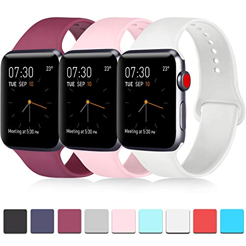 Pack 3 Compatible with Apple iWatch Bands 38mm Womens, Soft Silicone Band Compatible iWatch Series 4, Series 3, Series 2, Series 1 (Wine Red/Pink/White, 38mm/40mm-M/L)