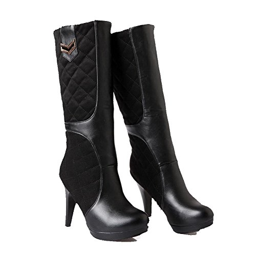 Boots High Black top Blend Mid Solid Women's Materials Pull Heels on Allhqfashion 86vqHxfn
