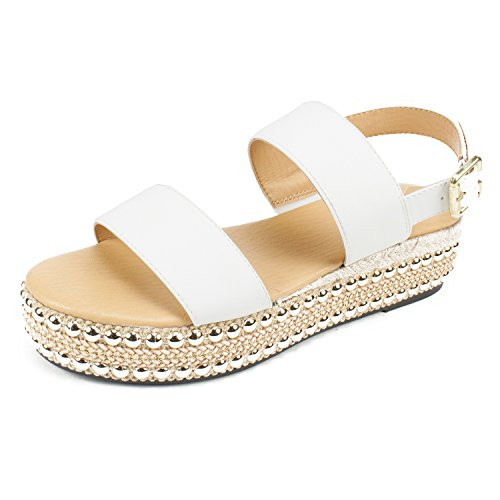 SEVEN DIALS Women's Berenice Sandal, White/Burnished/Smooth, 9 M - Dial Big