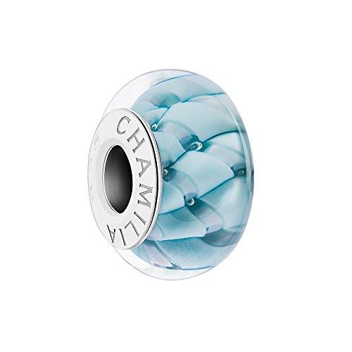 Chamilia Cascading Ribbon Bonnie Blue Murano Glass Bead Charm