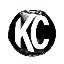 "KC HiLiTES 5100 6"" Round Black Vinyl Light Cover w/ White KC Logo - Set of 2"