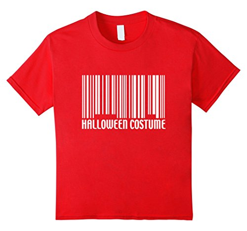 Kids Funny Generic Halloween Costume Barcode T-Shirt 6 Red