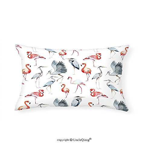 VROSELV Custom pillowcasesFlamingo Watercolor Style Effect Abstract Art Flamingo and Heron Birds Pattern for Bedroom Living Room Dorm Blue Grey Vermilion(20