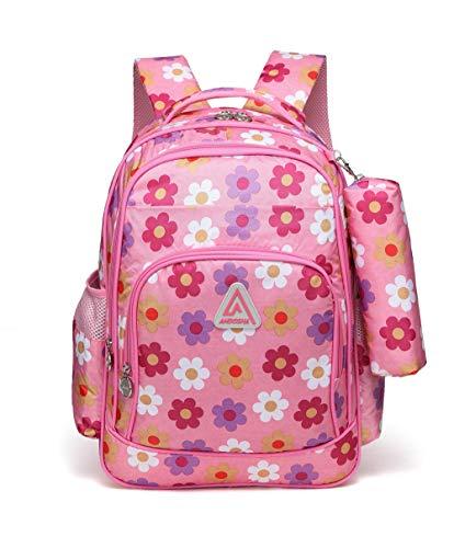 Little Girls Backpacks Set for Kindergarten Kids Preschool Boys School Bags Durable Bookbags (Flower,Pink)