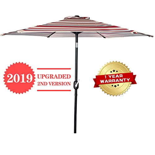 Awning Red Striped - FRUITEAM 7 1/2 ft Patio Umbrella, Outdoor Market Umbrella Table Umbrella with Push Button/Tilt and Crank, Sturdy Steel Pole UPF50+ Red Striped Awning