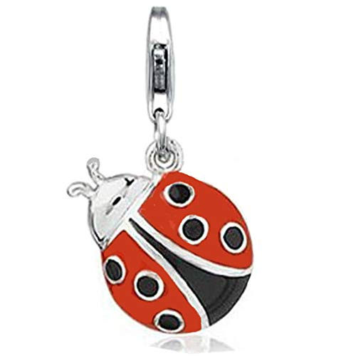 Jovana Sterling Silver Links Charm Ladybug Black and Red Enamel with Lobster Clasp